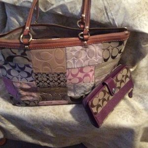 Coach patchwork bag and purple stripe wallet